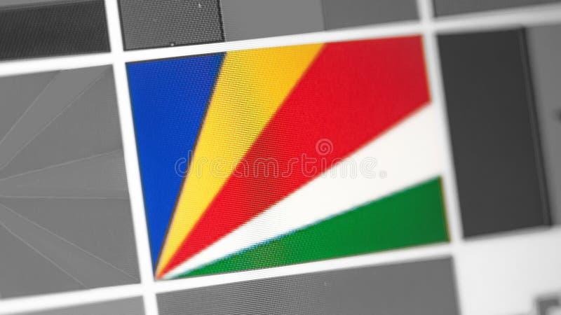 Seychelles flaga państowowa kraj Seychelles zaznaczają na pokazie, cyfrowy mora skutek obrazy stock