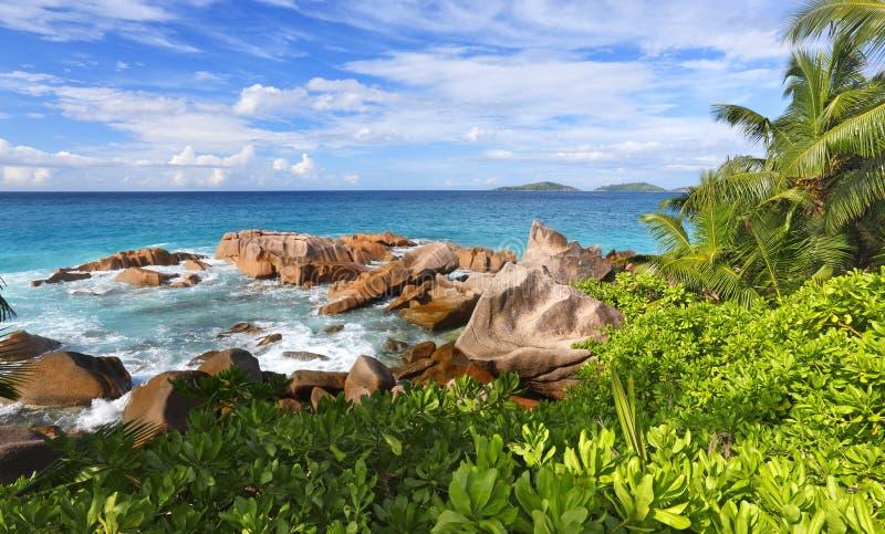 Seychelles. Granite rocks on Seychelles island La Digue stock photography