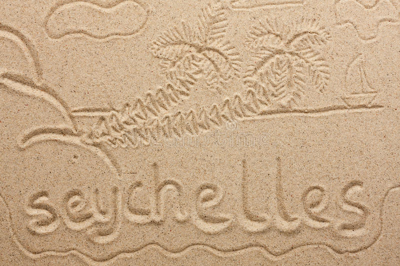 Download Seychelles Handwritten From  Sand Stock Photo - Image: 33773704