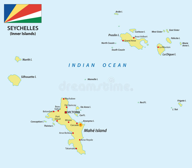 Seychelles map with flag stock illustration Illustration of mahe