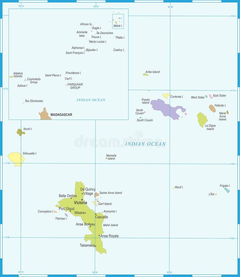 Seychelles mapa - Szczegółowa Wektorowa ilustracja ilustracja wektor