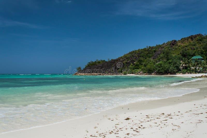 Seychelles Piękna Anse Volbert plaża zdjęcie royalty free