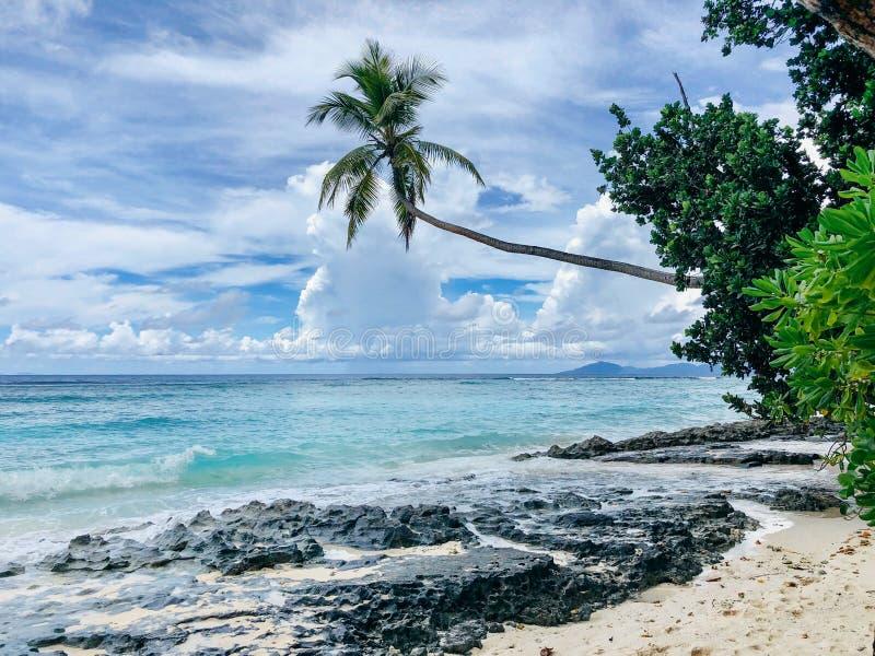 Seychelles Silhouette Island beach royalty free stock photography