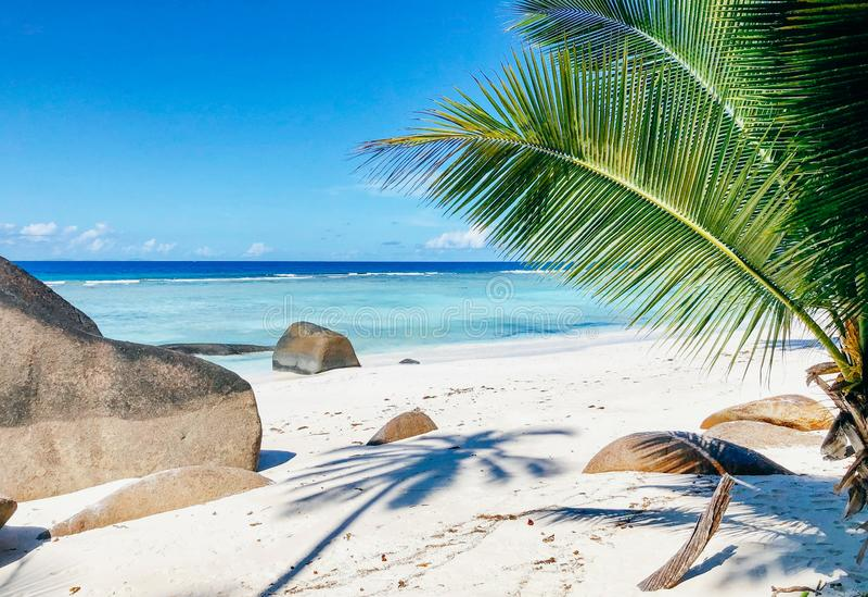 Seychelles Silhouette Island beach stock photography