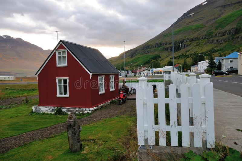 Seydisfjordur, beautiful town in Iceland. stock photo
