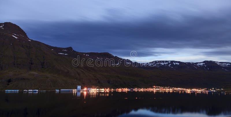Seydisfjordur, Iceland at night stock photos