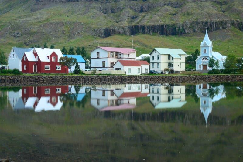 Seydisfjordur mirror reflection royalty free stock photo