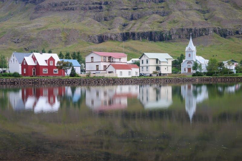 Seydisfjordur town Reflection stock photo