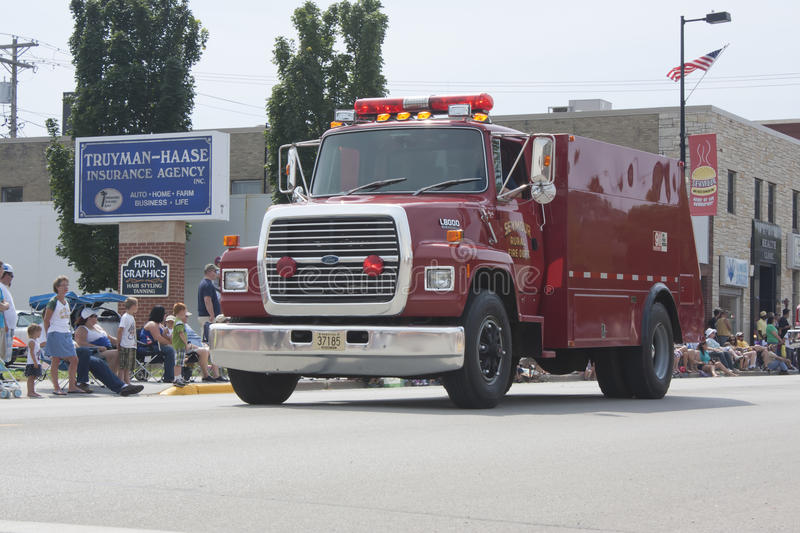 Seymour Rural Fire Department Truck in Parade royalty free stock image