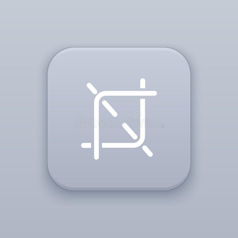 Sezione, bottone grigio di vettore del raccolto con l'icona bianca royalty illustrazione gratis