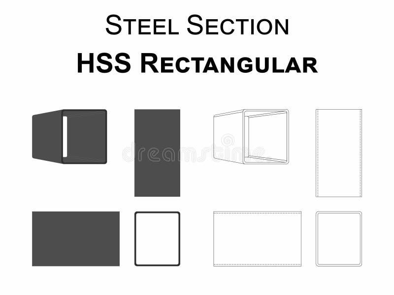 Sezione d'acciaio HSS rettangolare royalty illustrazione gratis