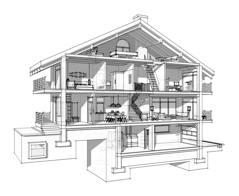 Sezione 3d di una casa di campagna illustrazione di stock illustrazione di residenza - Costruzione di una casa ...