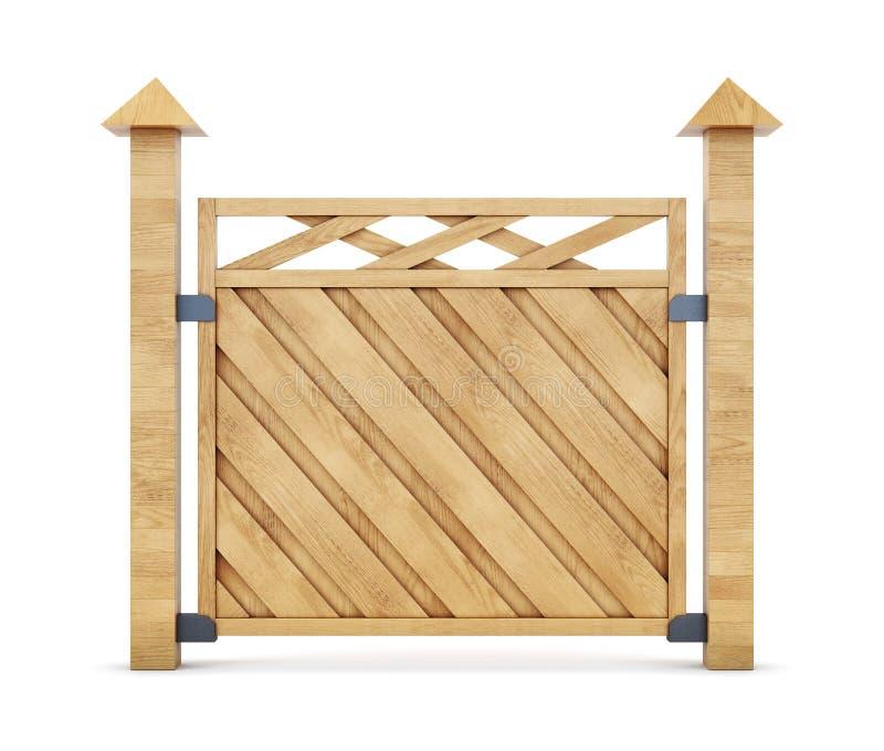 Sezione del recinto di legno su un fondo bianco rappresentazione 3d fotografia stock