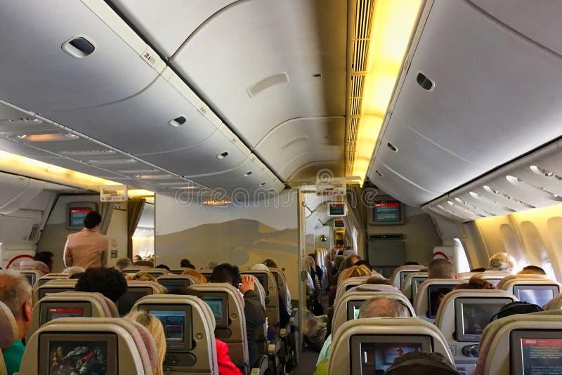 Sezione di economia di Boeing 777 Jet Aircraft immagine stock libera da diritti