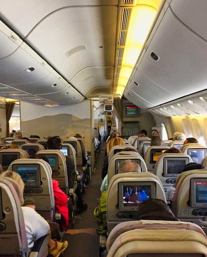 Sezione di economia di Boeing 777 Jet Aircraft fotografie stock