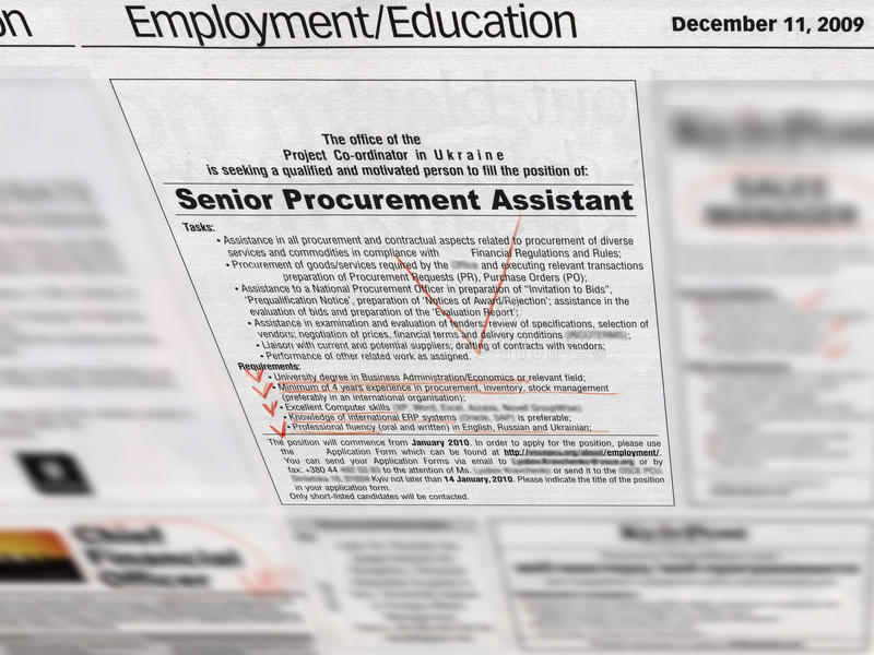 sezione di occupazione di job in giornale, immagine stock libera da diritti