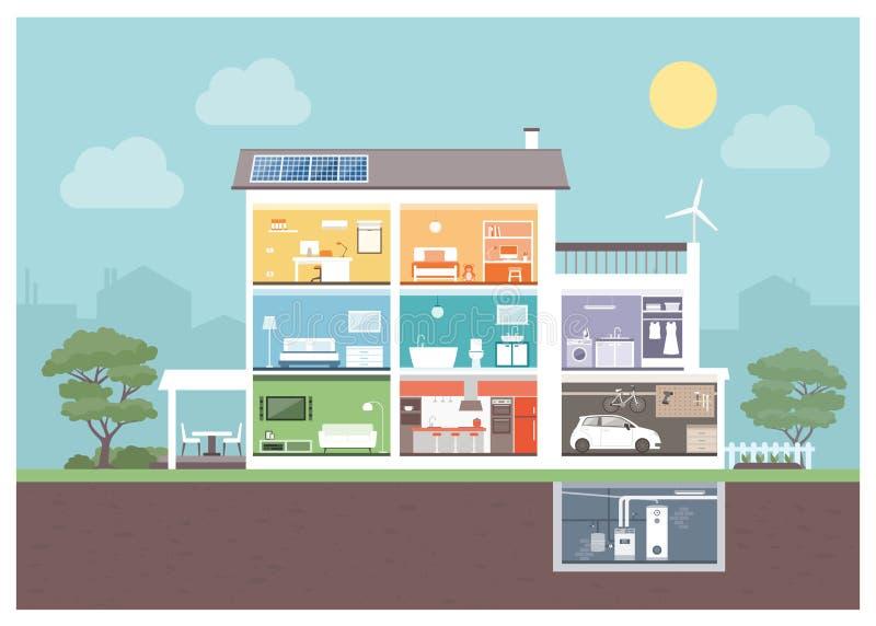 Sezione moderna della casa illustrazione vettoriale for Mostra della casa moderna udine