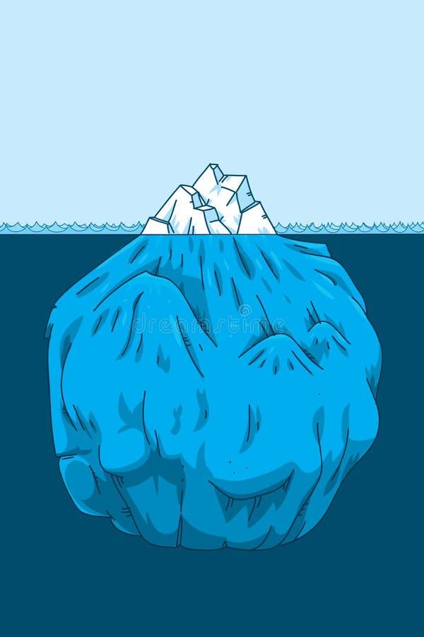 Sezione trasversale dell'iceberg del fumetto illustrazione di stock