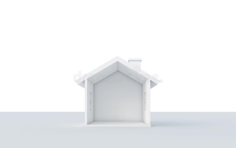 Sezione trasversale della casa semplice isolata su fondo bianco royalty illustrazione gratis