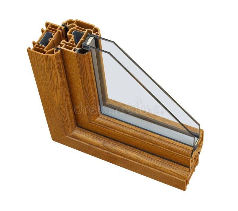 Sezione trasversale di legno del doppi vetri di effetto di UPVC immagine stock libera da diritti