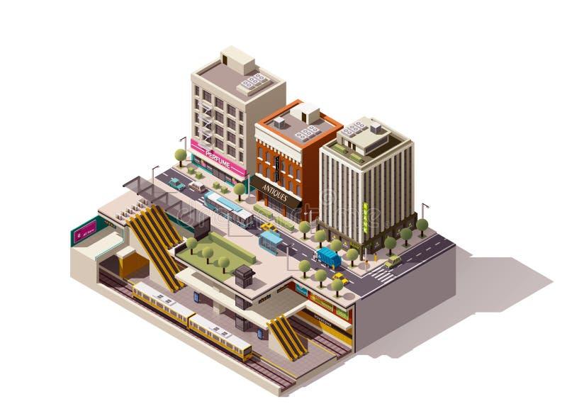 Sezione trasversale isometrica della stazione della metropolitana di vettore illustrazione vettoriale