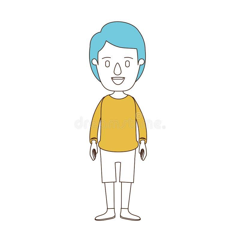 Sezioni di colore di caricatura e capelli blu del tipo pieno del corpo con l'acconciatura che guarda per fronteggiare illustrazione di stock
