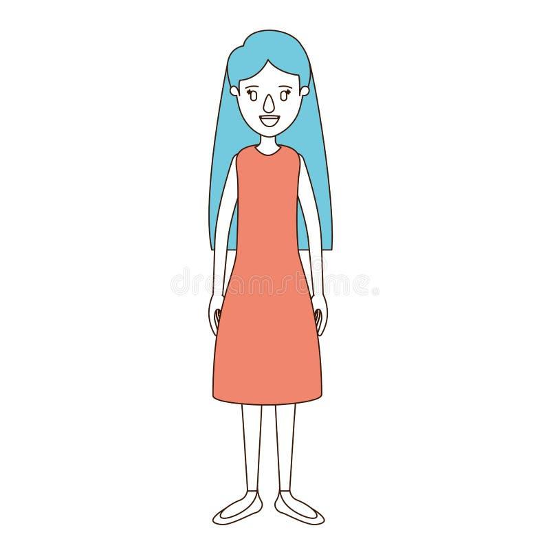 Sezioni di colore di caricatura e capelli blu della donna piena del corpo con capelli lunghi e vestita royalty illustrazione gratis