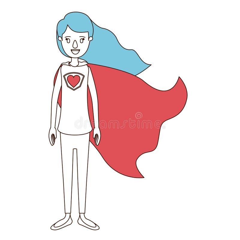 Sezioni di colore di caricatura e capelli blu della donna piena dell'eroe eccellente del corpo con capelli ed il cappuccio lunghi illustrazione di stock