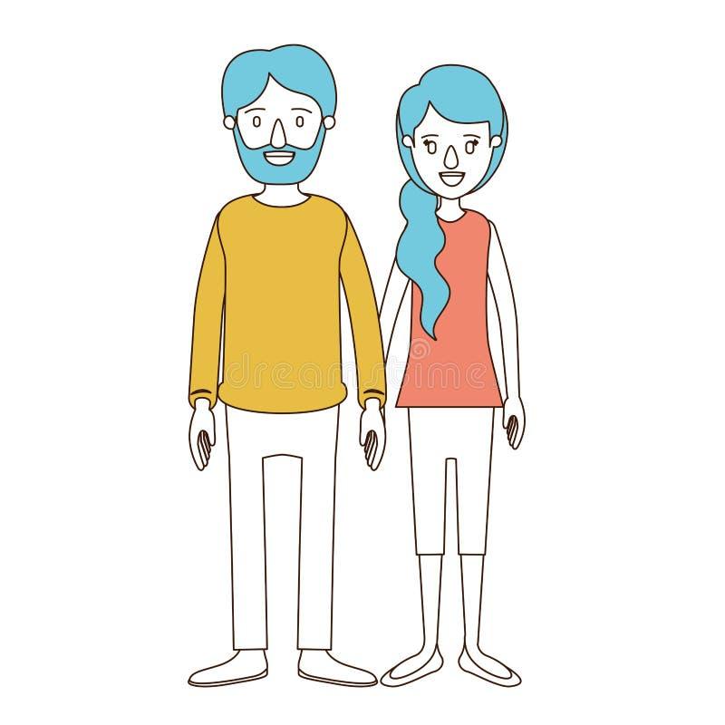 Sezioni di colore di caricatura e capelli blu della donna piena delle coppie del corpo con i capelli e l'uomo del lato della coda royalty illustrazione gratis