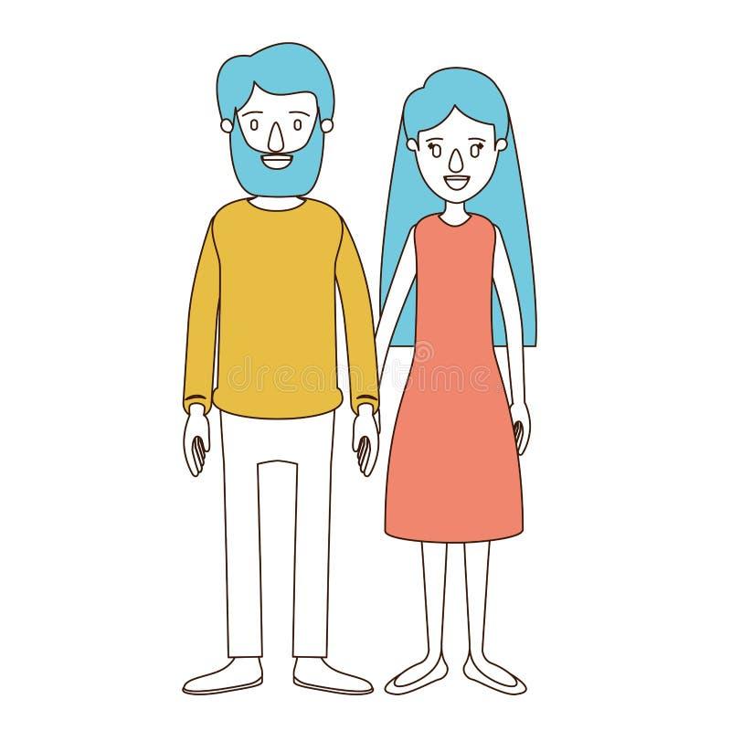 Sezioni di colore di caricatura e capelli blu della donna piena delle coppie del corpo con capelli lunghi in vestito ed in uomo i illustrazione di stock