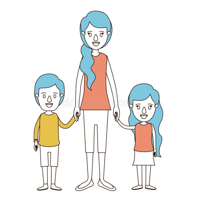 Sezioni di colore di caricatura e capelli blu della mano presa madre piena del corpo con i bambini illustrazione vettoriale