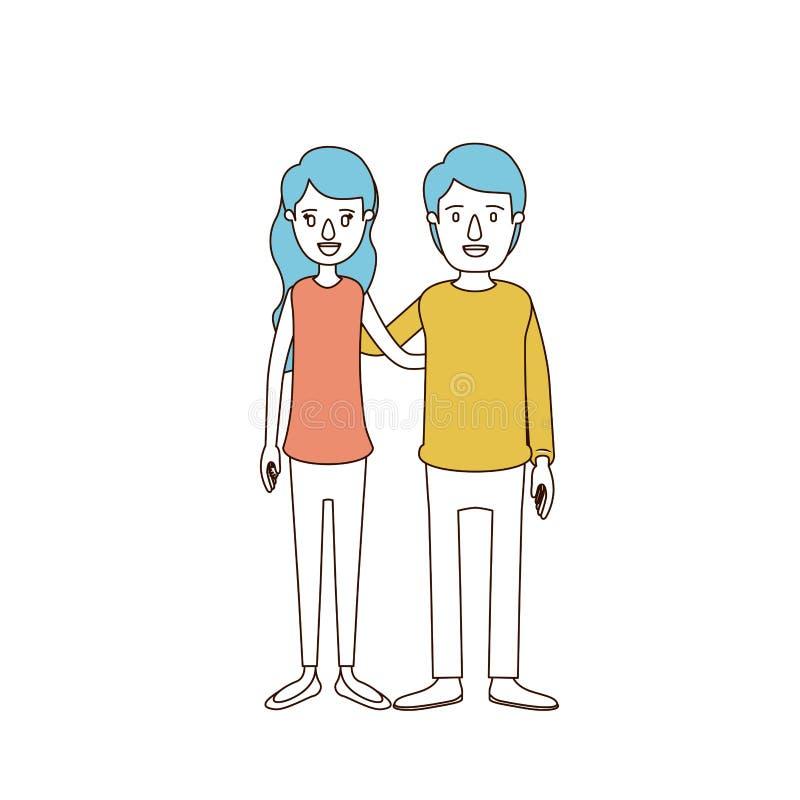 Sezioni di colore di caricatura e capelli blu delle coppie complete del corpo in abbigliamento casuale che abbraccia le coppie royalty illustrazione gratis