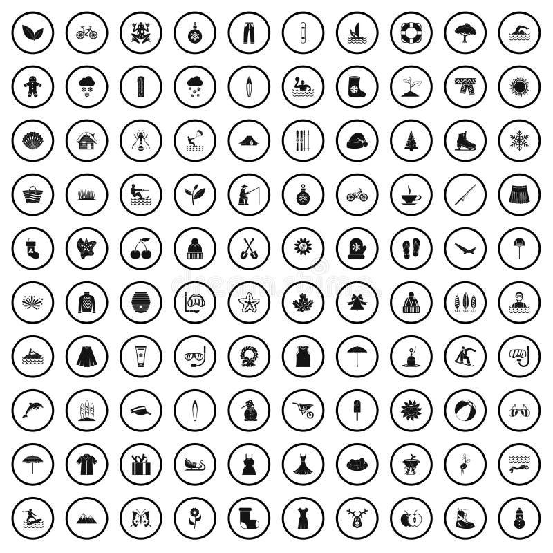 100 sezonów ikon ustawiających, prosty styl royalty ilustracja