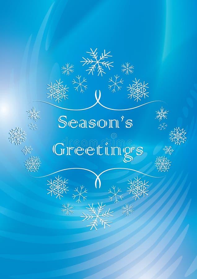 Sezonów powitania - abstrakcjonistyczna wektorowa błękitna kartka z pozdrowieniami z śniegiem ilustracja wektor