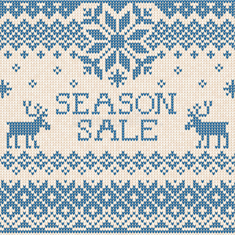Sezon sprzedaż: Skandynawa stylowy bezszwowy trykotowy wzór z de ilustracji