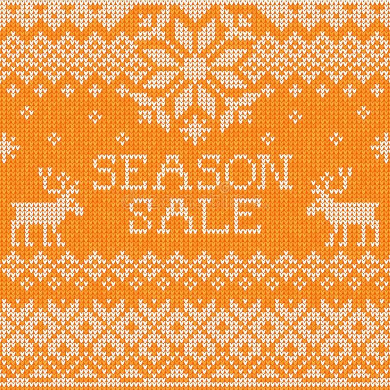 Sezon sprzedaż: Skandynawa stylowy bezszwowy trykotowy wzór z de royalty ilustracja