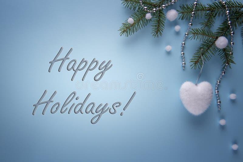 Sezonowa kartka z pozdrowieniami z Szczęśliwym wakacje znakiem obraz stock