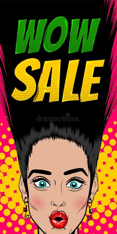 Sezonowy sprzedaży kobiety wystrzału sztuki rocznika plakat ilustracja wektor