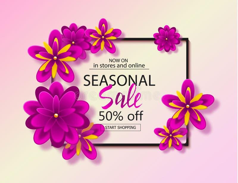 Sezonowy sprzedaży tło z pięknymi kwiatami Wektorowy ilustracyjny szablon, sztandary Tapeta, ulotki, zaproszenie royalty ilustracja