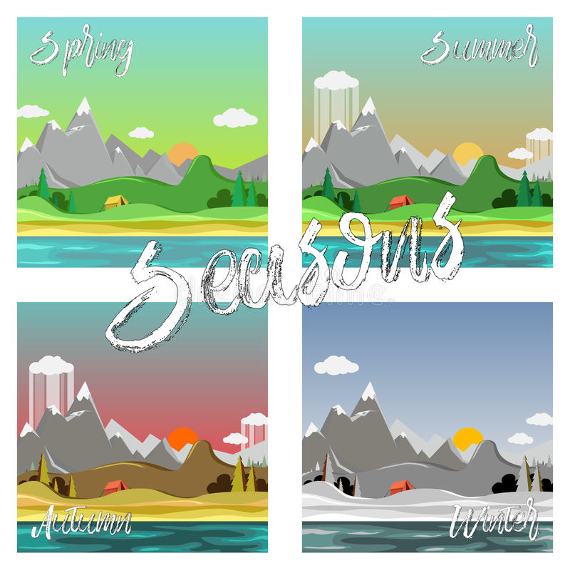 Sezony kształtują teren set ilustracji