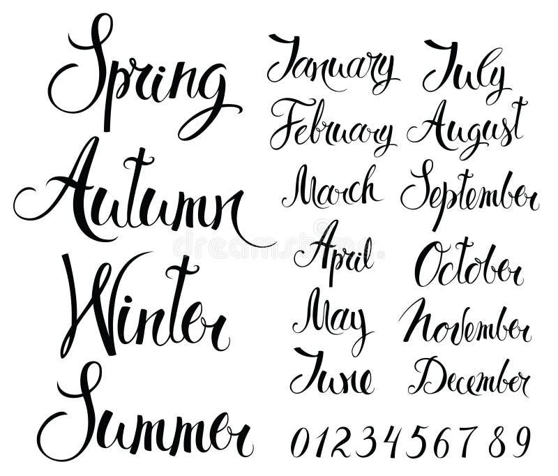 Sezony, miesiące i liczby, ilustracji