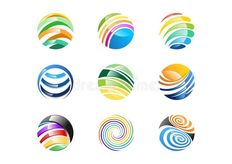 Sfär cirkel, logo, abstrakt globalt beståndsdelaffärsföretag, oändlighet, uppsättning av den runda designen för symbolssymbolvekt royaltyfri illustrationer