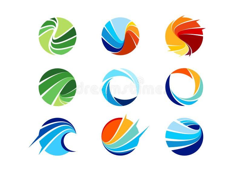 Sfär cirkel, logo, globalt som är abstrakt, affär, företag, korporation, oändlighet, uppsättning av den runda designen för symbol vektor illustrationer