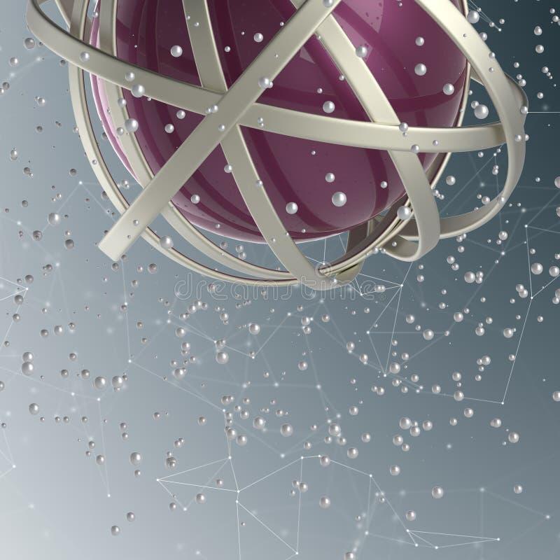 sfär 3d av mångfärgade cirklar i moln från mångfärgade droppar stock illustrationer