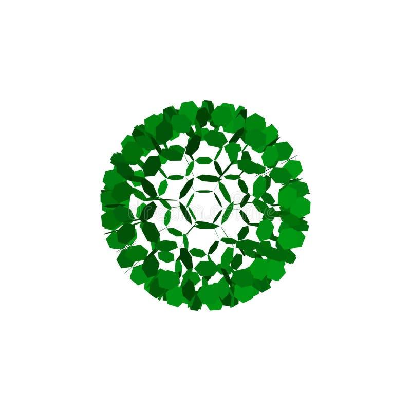sfär 3d från partiklar abstrakt leafs Isolerat på vitbackgr royaltyfri illustrationer
