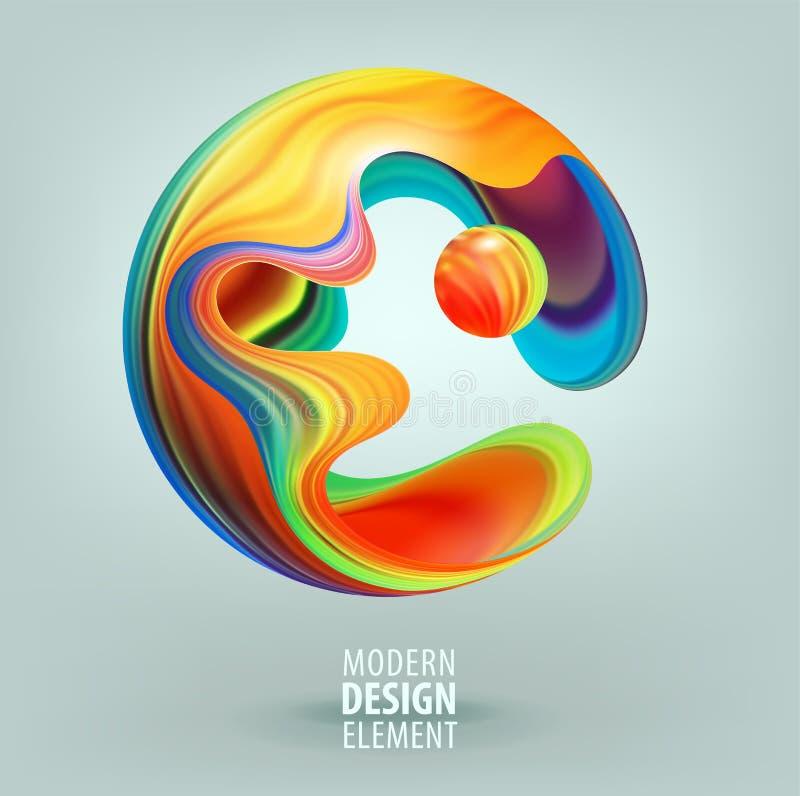 Sfär för datordiagram som dekoreras med kronblad 3d och designbeståndsdelar inom Vektorillustration av logoen för din design vektor illustrationer
