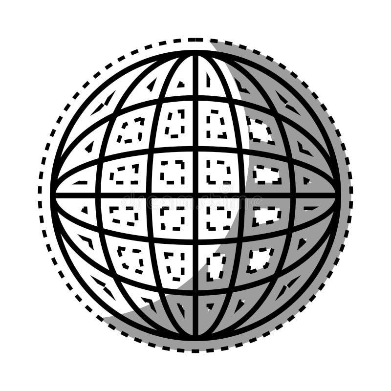 Sfär för klistermärkeskuggningskontur med kartografiska linjer royaltyfri illustrationer