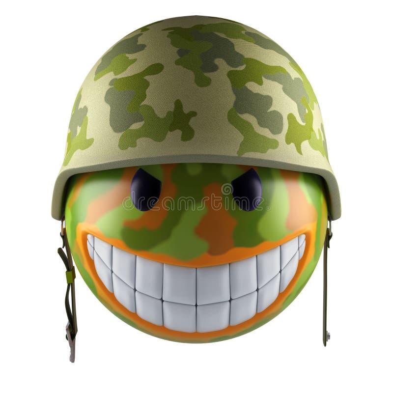 Sfär för leendeemojiframsida med den militära hjälmen royaltyfri illustrationer