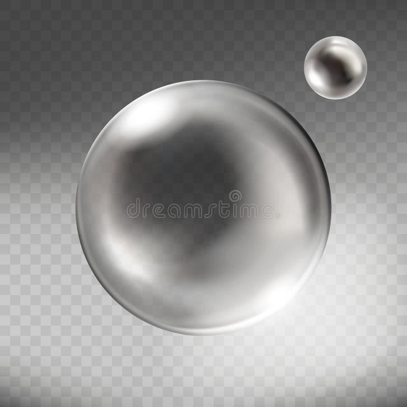 Sfär för realistisk silver för vektor genomskinlig glass stock illustrationer