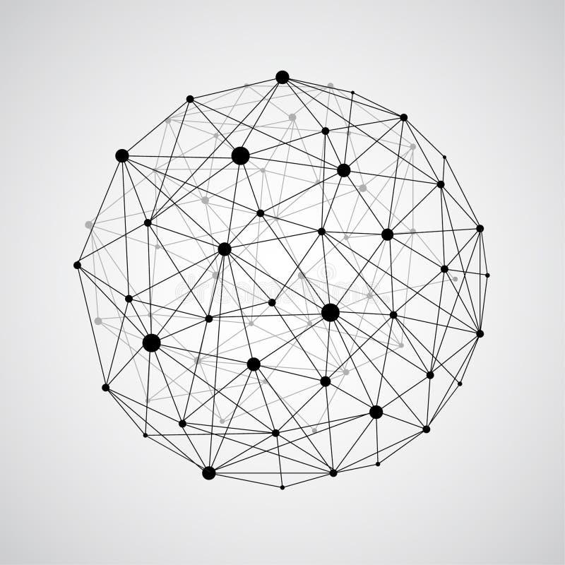 Sfär för vektorwireframeförbindande jord Jordklotanslutningsconce royaltyfri illustrationer